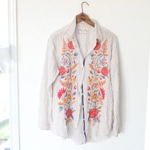 Johnny Was Workshop striped embroidered button top